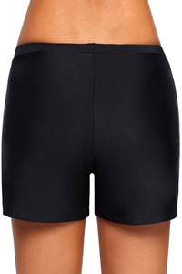Black Retro Swim Bottom Shorts
