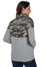 Load image into Gallery viewer, Camo Splice Gray Kangaroo Pocket Zip Collar Sweatshirt