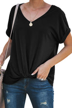 Load image into Gallery viewer, Black Plain Crew Neck Short Sleeve Twist Tee