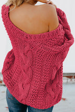 Load image into Gallery viewer, Rose Bubblegum V-Neck Braided Knit Sweater
