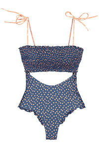 Blue Smocked One Piece Swimsuit
