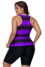 Load image into Gallery viewer, Purple Black Ombre Print Racerback Tankini Swimsuit