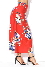 Load image into Gallery viewer, Orange Vibrant Floral Print Long Maxi Skirt