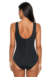 Solid Black Patchwork Mesh Ruched Front Maillot