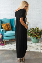 Load image into Gallery viewer, Black Beachy Keen Ruffle Sleeve T-shirt Maxi Dress