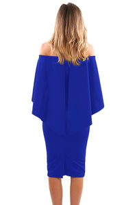 Royal Blue Luxurious Off Shoulder Batwing Cape Midi Poncho Dress