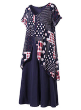 Load image into Gallery viewer, Blue Polka Dot Print Patchwork Maxi Dress