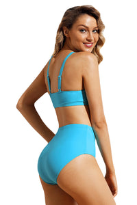 Solid Blue Sport Bikini 2pcs High Waist Swimsuit