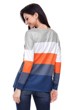 Load image into Gallery viewer, Orange Navy Colorblock Pocket Pullover Tunic Top