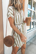 Load image into Gallery viewer, Khaki Fashion Stripe Short Sleeve Casual Dress