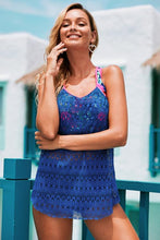 Load image into Gallery viewer, Blue Printed Patchwork Vest Tankini Set