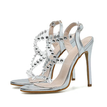 Load image into Gallery viewer, 2020 Design Rivet Crystal Sandals Wedding Women Shoes Rhinestones Woman High Heels Pvc Transparent Sexy Night Club Female Shoes