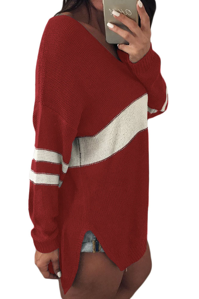 White Strip Red V Neck Sweater
