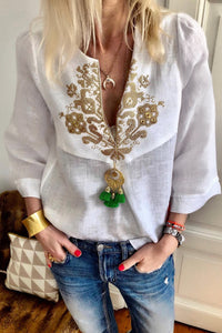 White Boho Embroidered V Neck 3/4 Sleeve Casual Blouse