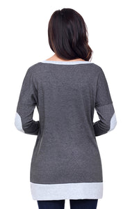 Charcoal Side Pocket Elbow Patch Colorblock Tunic