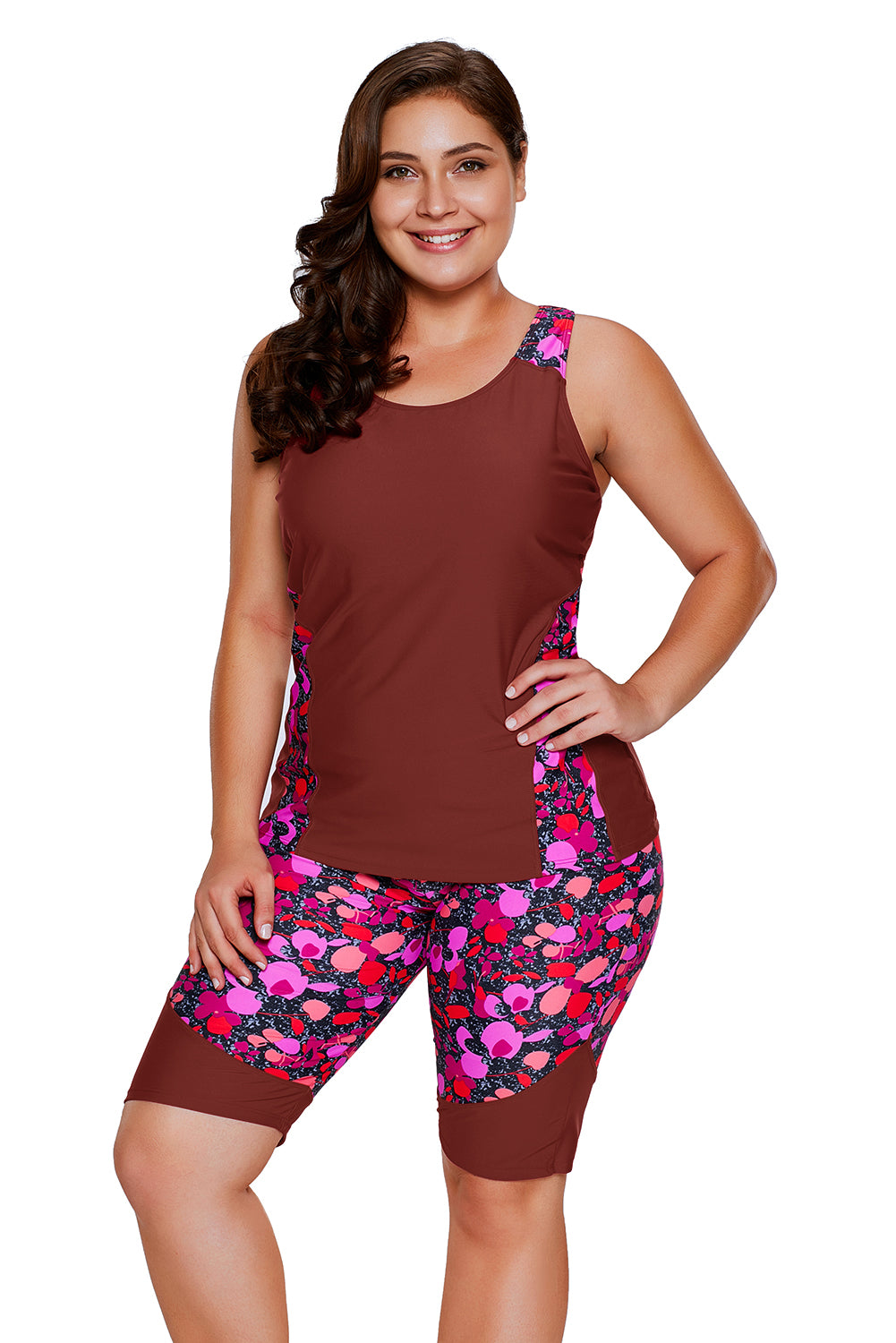 Burgundy Floral Insert Tankini and Short Sports Suit