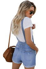Load image into Gallery viewer, Light Blue Denim Stretch Cotton Short Overalls