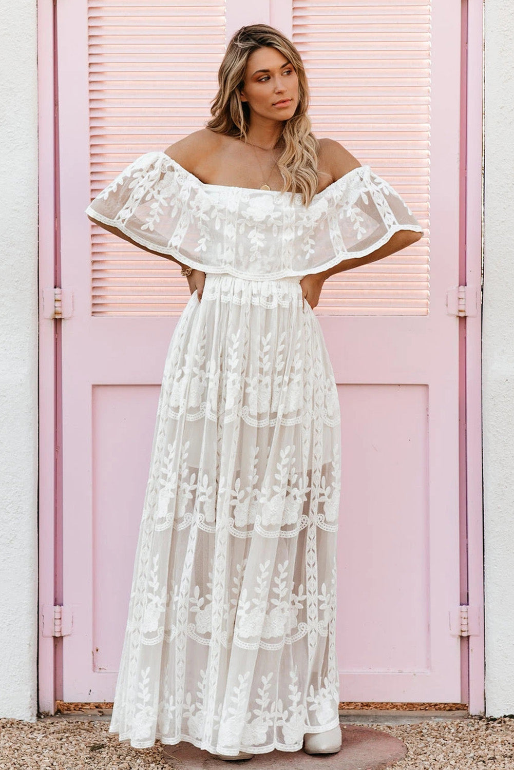 White Off The Shoulder Lace Maxi Dress
