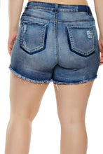 Load image into Gallery viewer, Medium Blue Almost Famous Frayed Denim Shorts