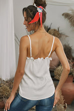 Load image into Gallery viewer, White V-Neck Ruffle Adjustable Spaghetti Strap Tank Top
