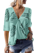 Load image into Gallery viewer, Green Tropical Plant & Cross Print Shirt