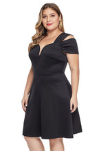 Load image into Gallery viewer, Black Plus Size Flare Dress