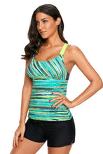 Load image into Gallery viewer, Green Colorful Tie Dye Print Tankini Top