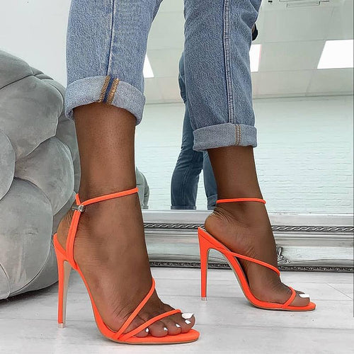 2020 Summer New Ankle Strap Cross-Tied Women Sandals 11.5Cm High Heels Sexy Grain Lace-Up Sandals High Quality Shoes Orange