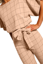 Load image into Gallery viewer, Game Changer Apricot Checked Belted Wide Leg Jumpsuit
