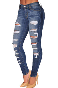 Blue Denim Destroyed Whisker Wash Skinny Jeans