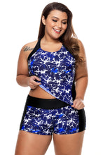 Load image into Gallery viewer, Blue Round Neck Flower Print Tankini Bathing Suit