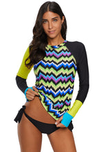 Load image into Gallery viewer, Contrast Yellow Detail Long Sleeve Tankini Swimsuit