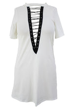 Load image into Gallery viewer, White Lace Up Half Sleeves Tee Dress