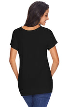 Load image into Gallery viewer, Side Button Detail Black Short Sleeve Shirt