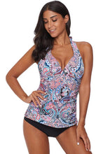 Load image into Gallery viewer, Multicolor Retro Floral Pattern Halter Neck Tankini Swimsuit
