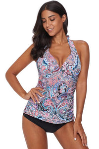 Multicolor Retro Floral Pattern Halter Neck Tankini Swimsuit
