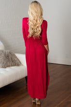 Load image into Gallery viewer, Red Surplice Neck High Waist Pleated Pocket Maxi Dress