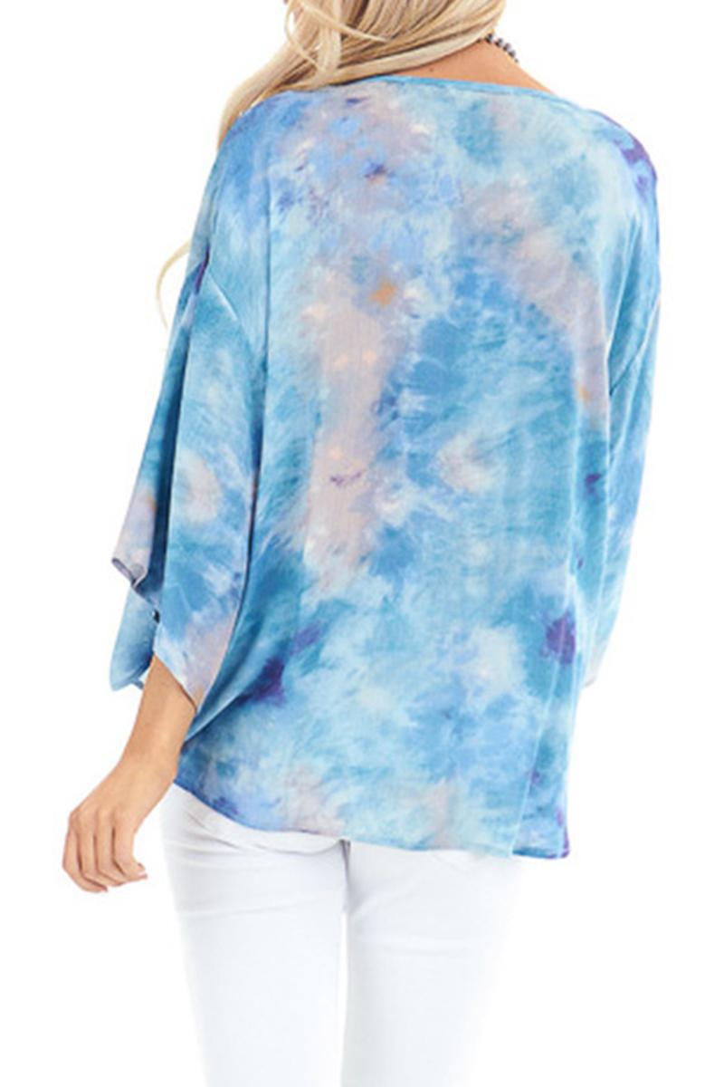 Sky Blue Tie Dye V Neck Top