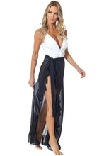 Load image into Gallery viewer, Black Ruffled Tulle Beach Cover up Maxi Skirt