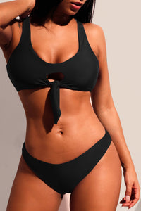 Black Keyhole Tie Front 2pcs Bikini Swimsuit