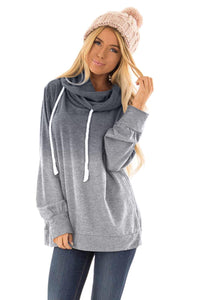 Gray Ombre Pullover Long Sleeve Hoodie