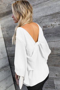 White V-Neck Bowknot Three-Quarter Sleeve Blouse