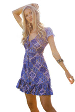 Load image into Gallery viewer, Blue Vintage V-Neck Print Mini Dress