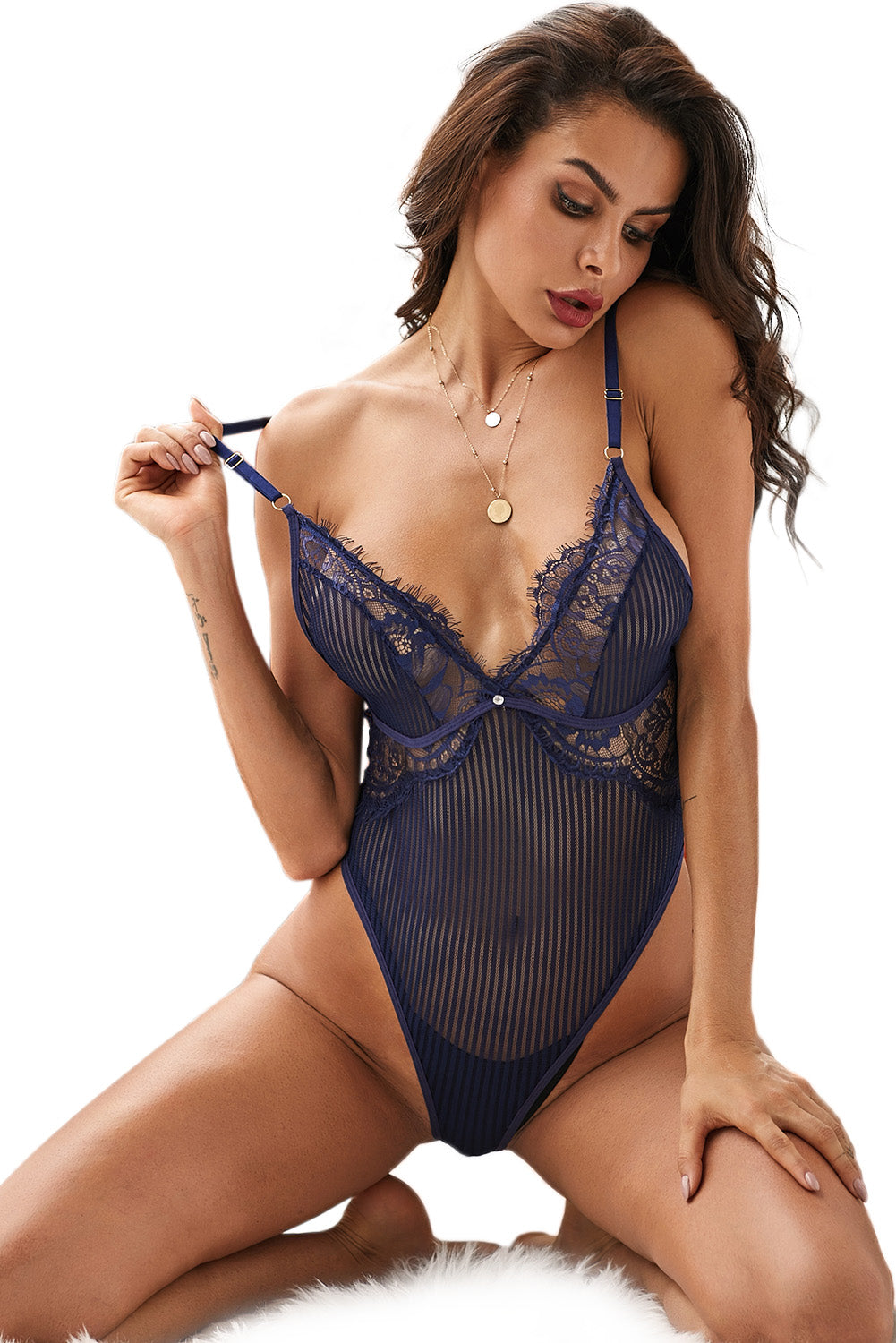Blue Striped Mesh Bodysuit