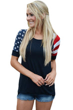 Load image into Gallery viewer, Black Stars Stripes Short Sleeve Tee