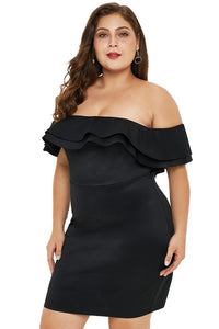 Black Layered Ruffle Off Shoulder Plus Size Dress
