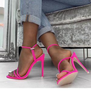 2020 Summer New Ankle Strap Cross-Tied Women Sandals 11.5Cm High Heels Sexy Grain Lace-Up Sandals High Quality Shoes Pink