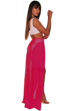 Load image into Gallery viewer, Neon Red Mesh Slit Cover Up Belted Maxi Skirt