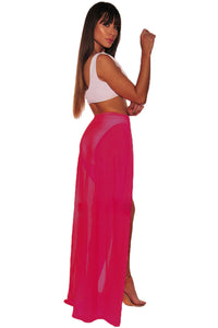 Neon Red Mesh Slit Cover Up Belted Maxi Skirt