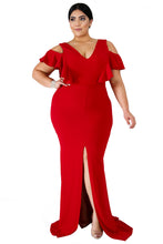 Load image into Gallery viewer, Red Plus Size Flamous Mermaid Dress